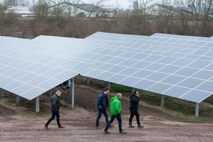 Bezoekers van de opening maken een verkennend wandelingetje over zonnepark Noordveen.