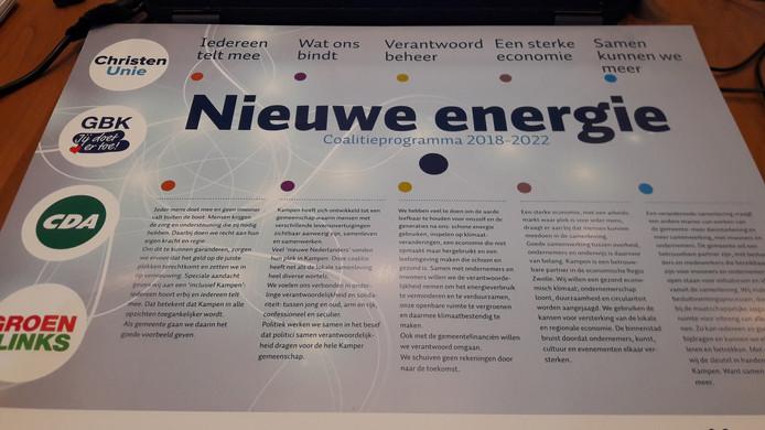 Het coalitieakkoord van CU, GBK, CDA en GL voor 2018-2022 heet 'Nieuwe Energie'