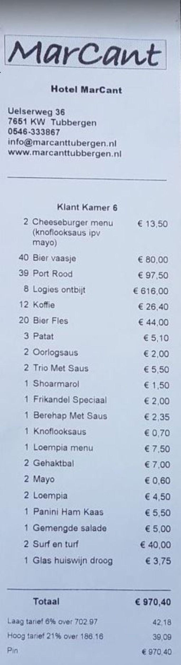 Benieuwd wat 'Henk en Jolanda' zoal bestelden in Tubbergen? Bekijk de rekening Beeld .