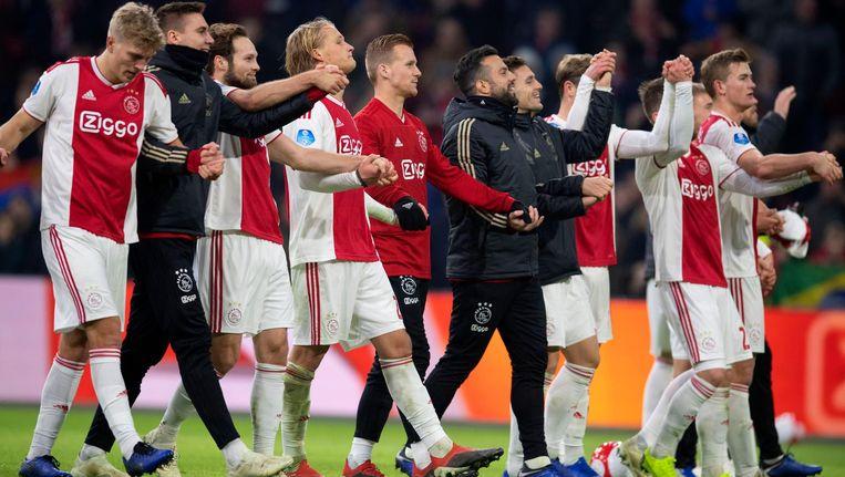 Ajax na de overwinning tegen De Graafschap vorig weekend. Beeld ANP