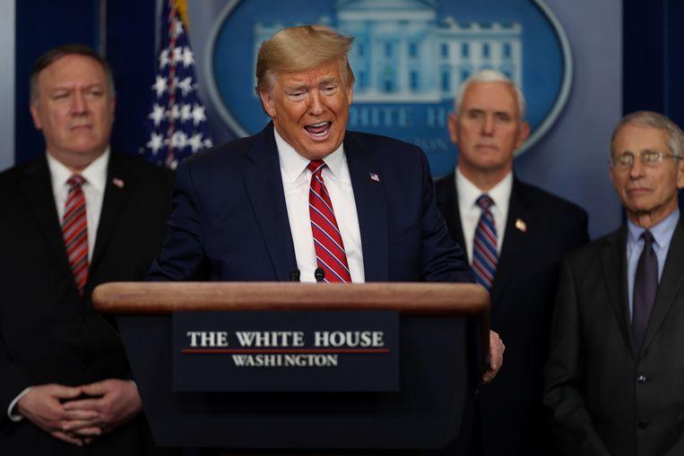 De Amerikaanse president Donald Trump vrijdag in het Witte Huis. Beeld REUTERS