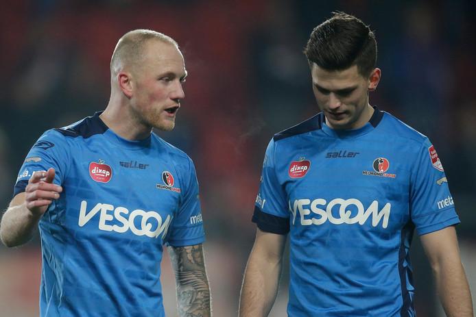 Maikel Verkoelen (links) verlaat Helmond Sport, net als Bart Meijers.