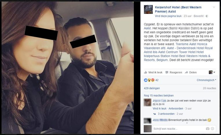 De post op de Facebookpagina van het betrokken hotel.