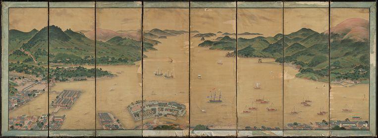 Uitzicht op Deshima in de baai van Nagasaki Beeld Museum voor Volkenkunde Leiden