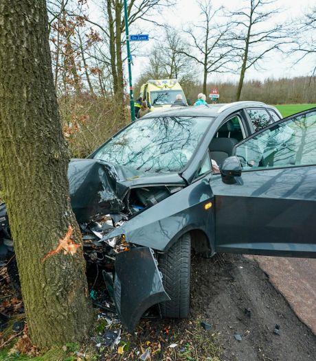 Auto in de prak na harde botsing met boom in Driebergen