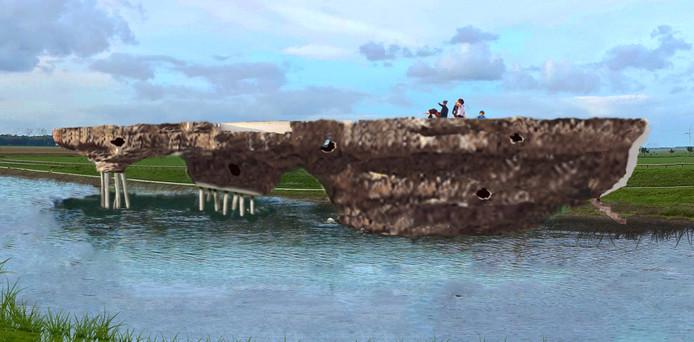 Een impressie van het kunstwerk van Bob Gramsma, zoals dat dient te verrijzen tussen tussen de Spijkweg en de Bremerbergdijk in Dronten.