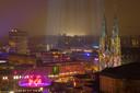 Drie Glow-projecten in één shot (genomen vanaf het NH Hotel). Tweede prijs Glow-fotowedstrijd 2017.