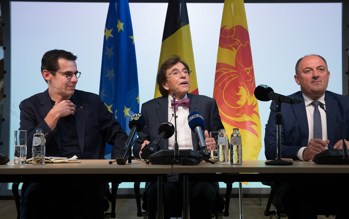Ecolo co-chairman Jean-Marc Nollet, PS chairman Elio Di Rupo and Walloon Minister President Willy Borsus pictured during a press conference regarding the formation of a new Walloon Government, Monday 09 September 2019 in Namur. PS, MR and Ecolo will govern together. BELGA PHOTO BENOIT DOPPAGNE