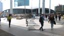 Harde wind in Utrecht en op Stationsplein bij Utrecht CS.