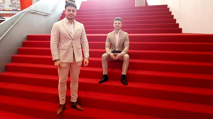 Avans-studenten Ahmet Sahin (links) en Koen Jobse hebben een platform opgezet, waarop buitenlandse bedrijven hun stagevacatures kunnen plaatsen.
