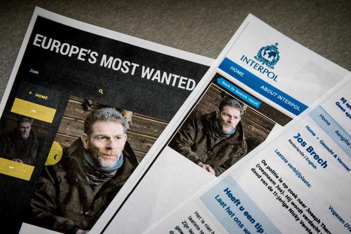 De 55-jarige Jos Brech, de moordverdachte van Nicky Verstappen, op de internationale Most Wanted-lijst van Interpol en Nationale Opsporingslijst van de politie.