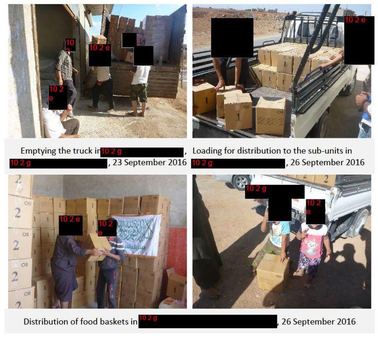 Hulpgoederen worden verstrekt aan Jaish al-Fatiheen. Beeld -