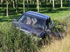Auto in droge sloot: bijrijdster gewond, bestuurder en hond ongedeerd