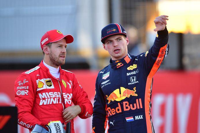 Sebastian Vettel en Max Verstappen.