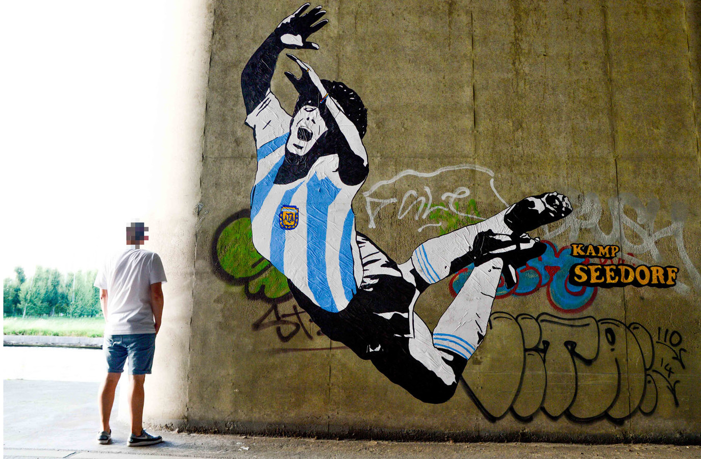 Diego Maradona door anoniem street art-collectief KampSeedorf