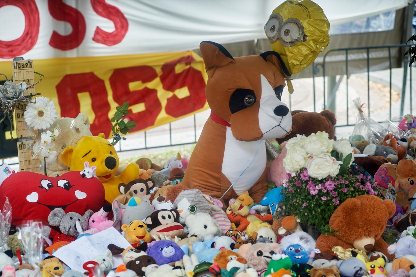 Vlakbij de plek van het ongeval werden honderden knuffelbeesten achtergelaten.