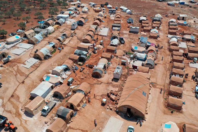 Luchtopname van het vluchtelingenkamp bij Maaret Misrin.