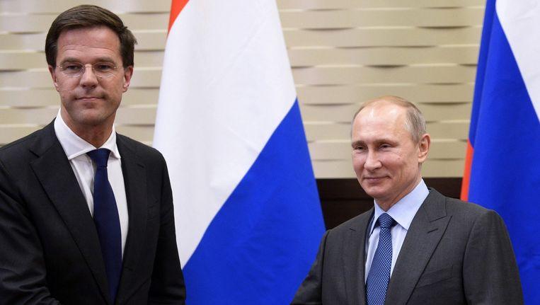 Premier Rutte met de Russische president Poetin in februari van dit jaar in Sotsji. Beeld epa