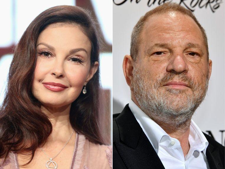 Ashley Judd en de gevallen filmproducent Harvey Weinstein.