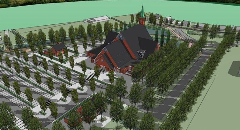 Het ontwerp van de nieuwe megakerk in Yerseke. Beeld Van Beijnum Architecten