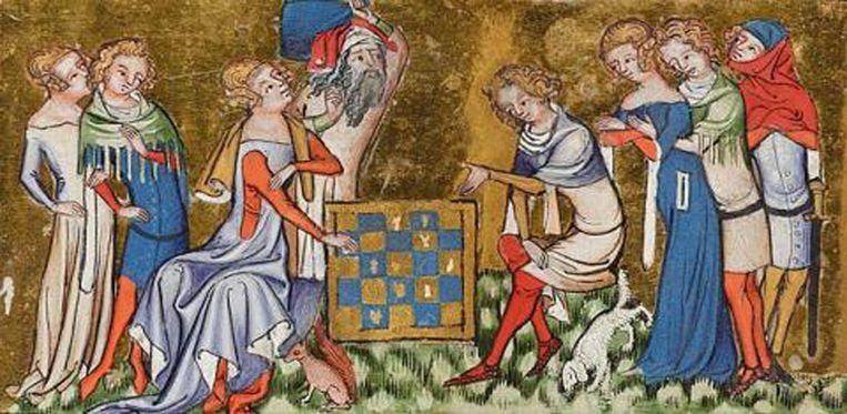 Schilderij van Jacques de Longuyon uit circa 1350. Na de pest ontstond voor het eerst een duidelijk verschil tussen de mode voor vrouwen en mannen. Beeld Morgan Library and Museum