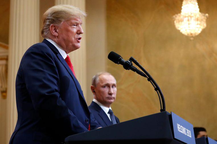 President Trump en president Poetin tijdens de gezamenlijke persconferentie, 16 juli 2018. Beeld AP