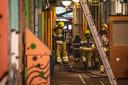 De brandweer in actie in de Vlaamsegas in Nijmegen.