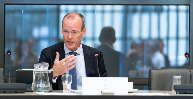 Klaas Knot, president van De Nederlandsche Bank, tijdens het debat van maandag over het monetaire beleid van de ECB en de gevolgen voor de pensioenen. Beeld Freek van den Bergh / de Volkskrant