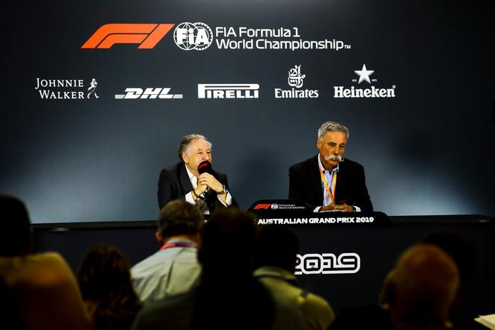 FIA-baas Jean Todt (links) en F1-voorzitter Chase Carey.