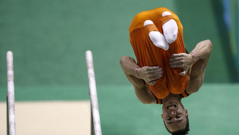 Afsprong van Michel Bletterman tijdens de kwalificatiewedstrijd voor de Olympische Spelen, afgelopen weekeinde in Rio de Janeiro. Beeld EPA