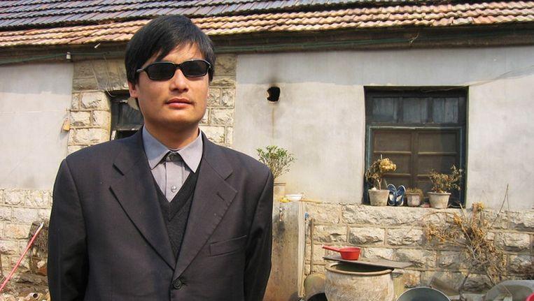 De blinde Chinese activist Chen Guancheng. Beeld reuters