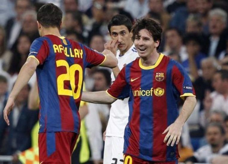In de vorige wedstrijd tussen de twee rivalen scoorde Messi (R) het eerste doelpunt voor Barcelona. EPA Beeld