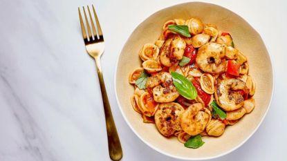 Maak deze lekker scampi-pastaschotel. Eet smakelijk!