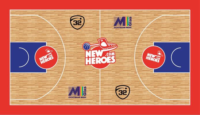 Met de komst van New Heroes als hoofdsponsor en naamgever verandert ook de basketbalvloer in De Maaspoort.