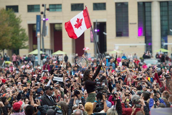 Bianca Andreescu met de Canadese vlag in haar geboorteplaats Mississauga.