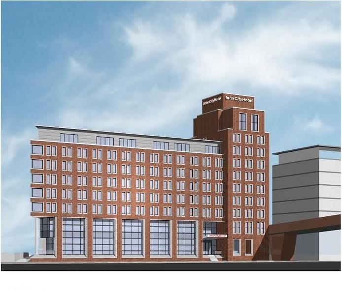 Een impressiebeeld van het InterCity Hotel in het Bossche Paleiskwartier. Onduidelijk is in hoeverre de plannen afwijken.