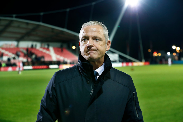 NEC-trainer Jack de Gier na de 4-0 afstraffing door Jong Ajax vrijdag.
