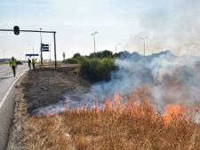 Middenberm A13 bij Delft in brand