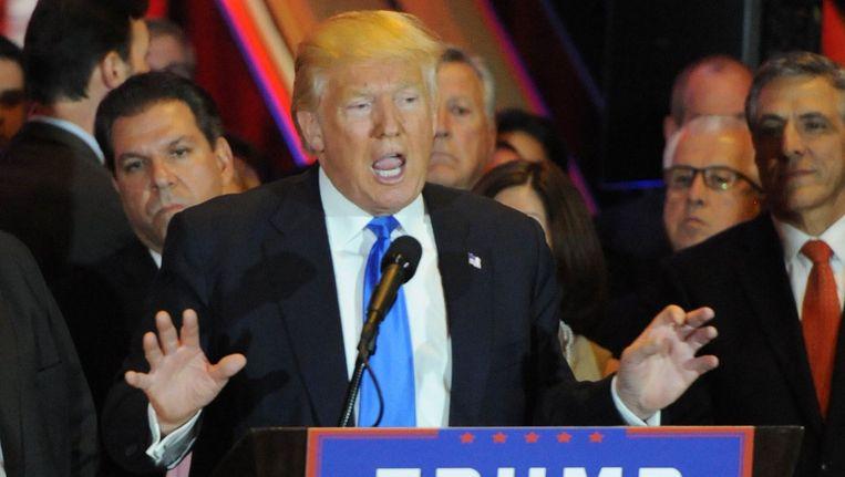 Donald Trump bedankt de kiezers nadat hij de voorverkiezingen heeft gewonnen in Delaware, Rhode Island, Connecticut, Maryland en Pennsylvania. Beeld photo_news