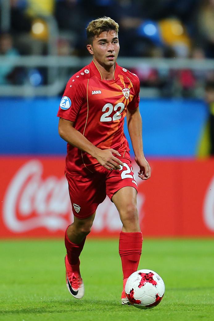 Nikola Gjorgjev tijdens de EK U21 wedstrijd van Macedonië tegen Portugal.