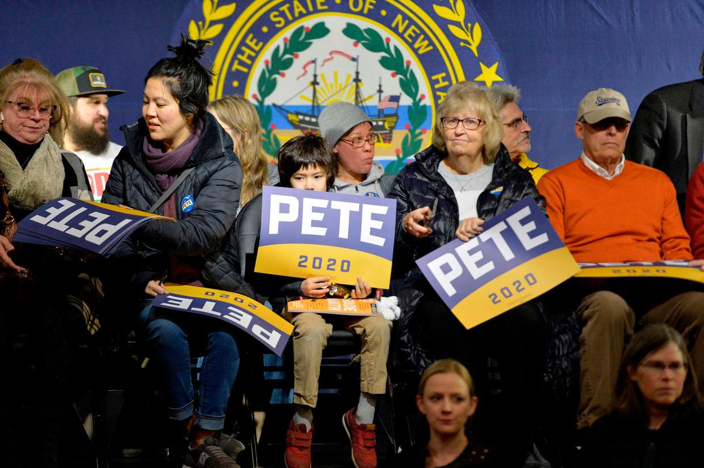 Aanhangers van de Democratische kandidaat Pete Buttigieg in de staat New Hampshire. Beeld AFP