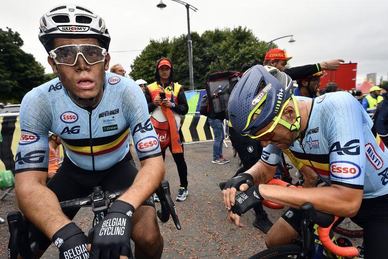 De Belgische wielrenner Wout van Aert tijdens de Europese Kampioenschappen. Beeld BELGA