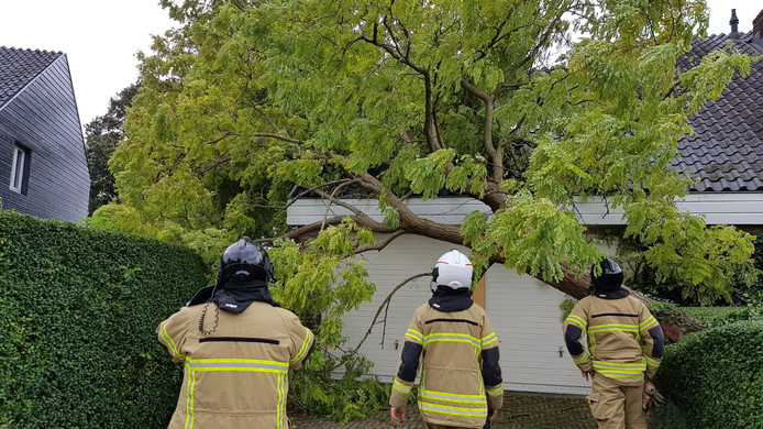In Giessenburg viel een boom op een huis, aan de Koevelaan.