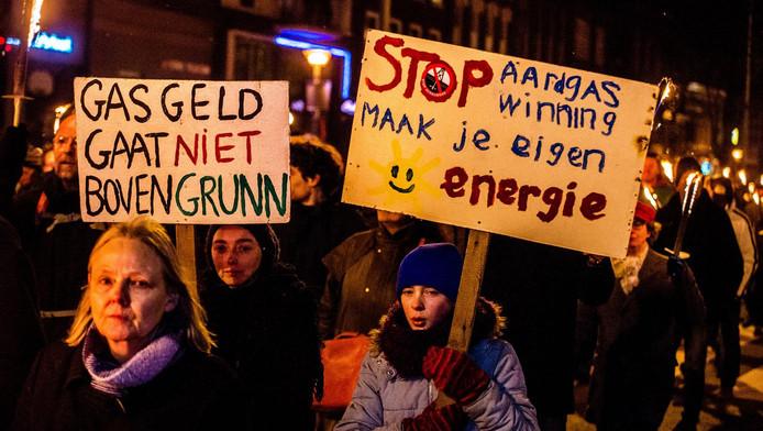 Protest in Groningen tegen de gaswinning