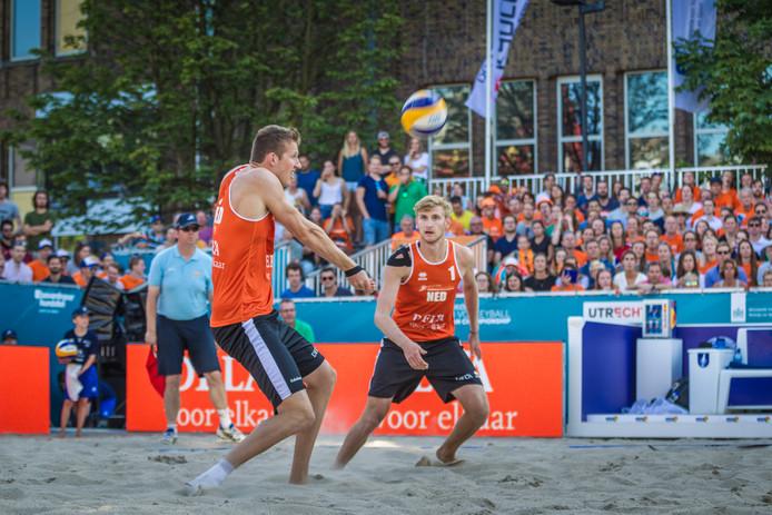 Christiaan Varenhorst (l) en Jasper Bouter in actie op het EK.