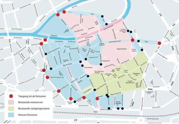Een kaartje van de fietszone.