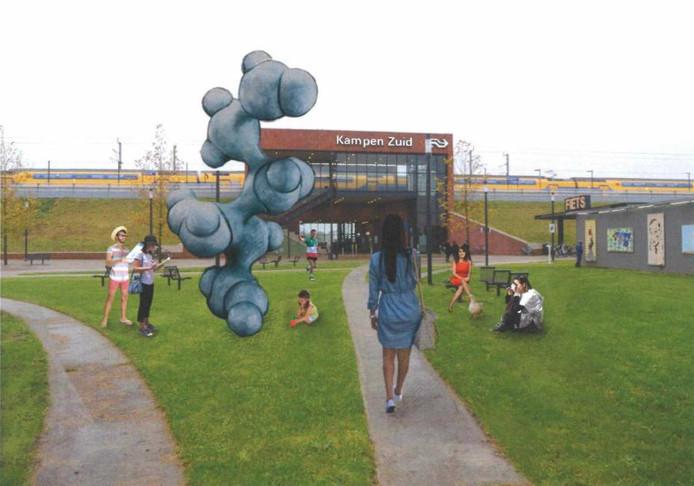 'De onmisbare' is het kunstwerk van Joep van Lieshout dat komt bij station Kampen Zuid.