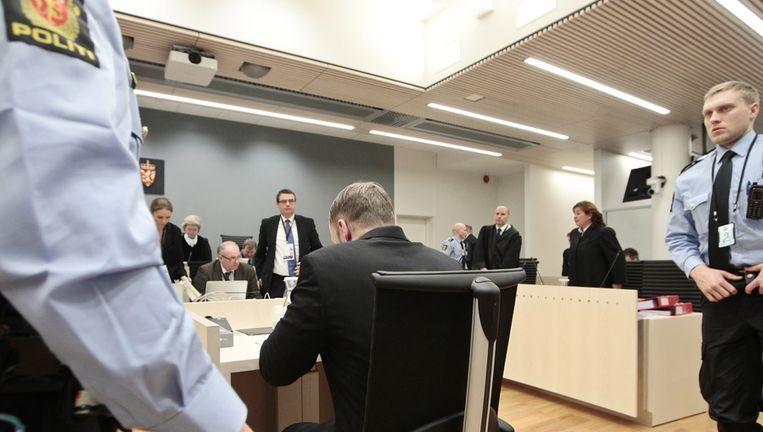 Breivik vandaag tijdens het voorlezen van zijn verklaring. Beeld ap