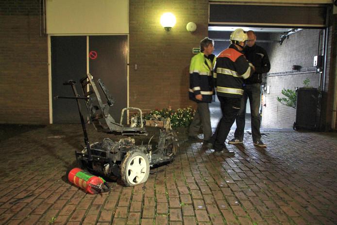 Scootmobiel in Helmond uitgebrand.