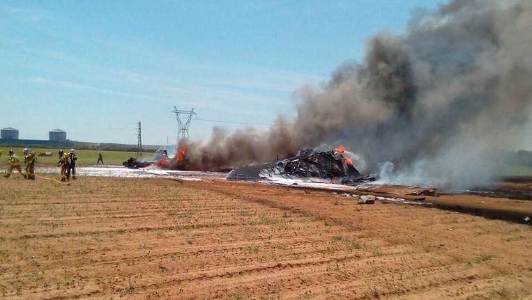 Het wrak van de verongelukte Airbus A400M. Beeld epa